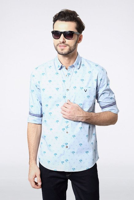 Allen Solly Sky Blue Printed Casual Shirt