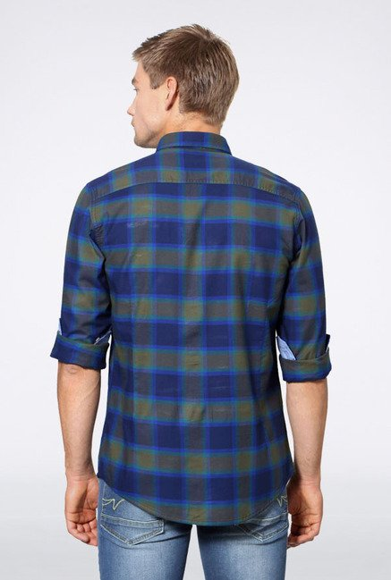 Allen Solly Dark Blue & Olive Checks Casual Shirt