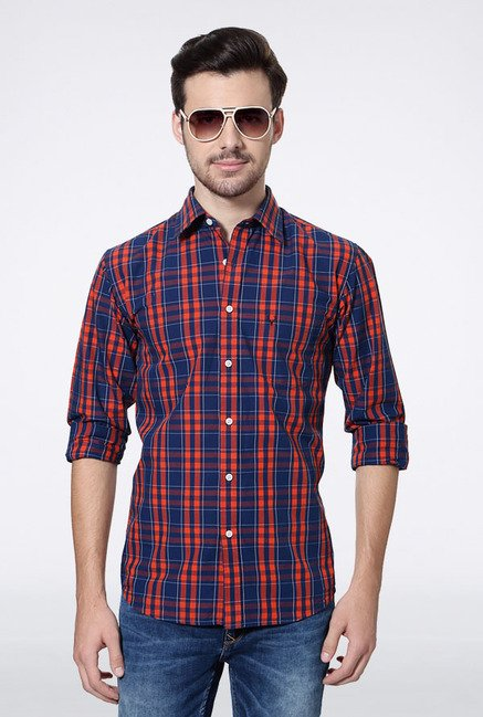Allen Solly Navy & Orange Checks Slim fit Casual Shirt
