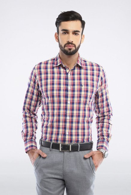 Peter England Navy & Yellow Checks Slim fit Casual Shirt