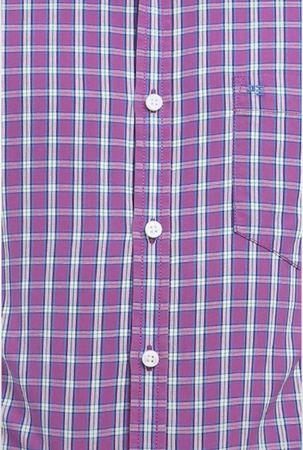 Peter England Purple Checks Slim fit Casual Shirt