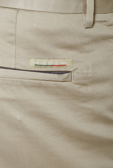 Peter England Khaki Solid Cotton Trouser