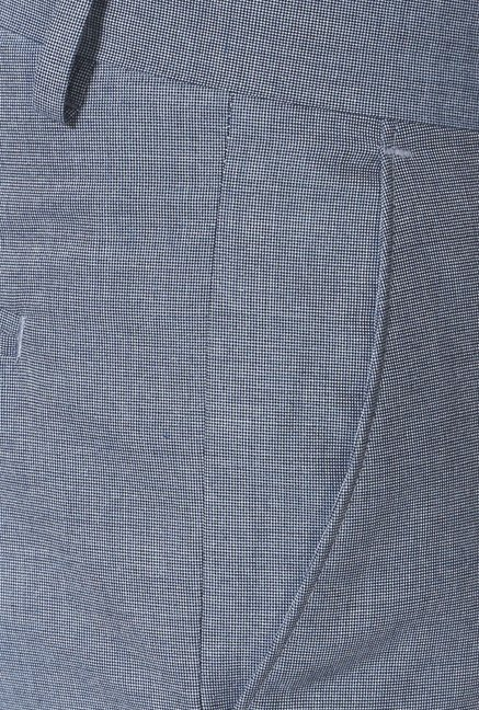 Peter England Blue Solid Slim Fit Trouser
