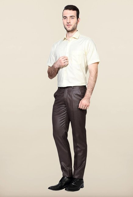 Peter England Brown Solid Trouser