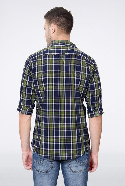 Allen Solly Green & Navy Checks Slim fit Casual Shirt