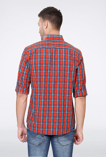 Allen Solly Orange & Blue Checks Slim fit Casual Shirt