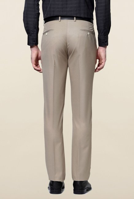 Peter England Beige Solid Trouser