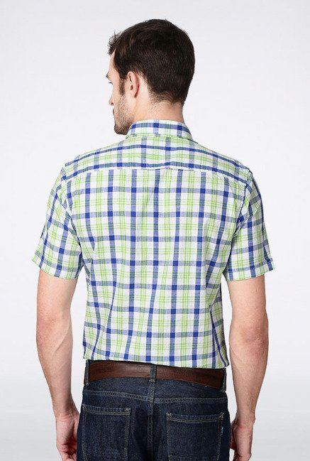 Peter England Green & Blue Checks Slim fit Casual Shirt