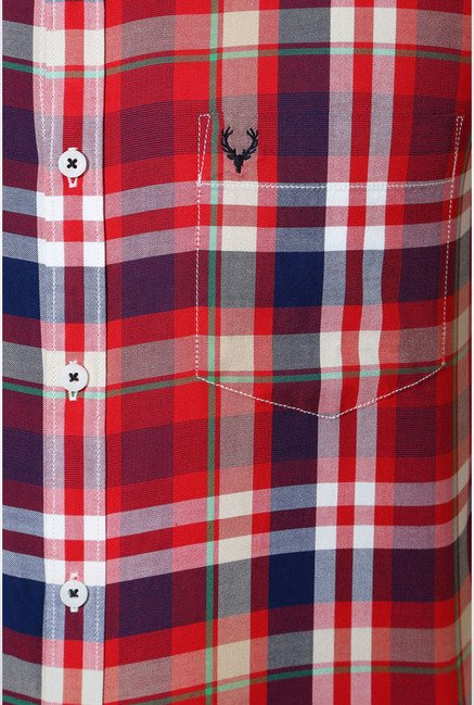 Allen Solly Red & Navy Checks Casual Shirt