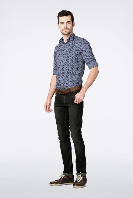 Peter England Blue Printed Slim fit Casual Shirt