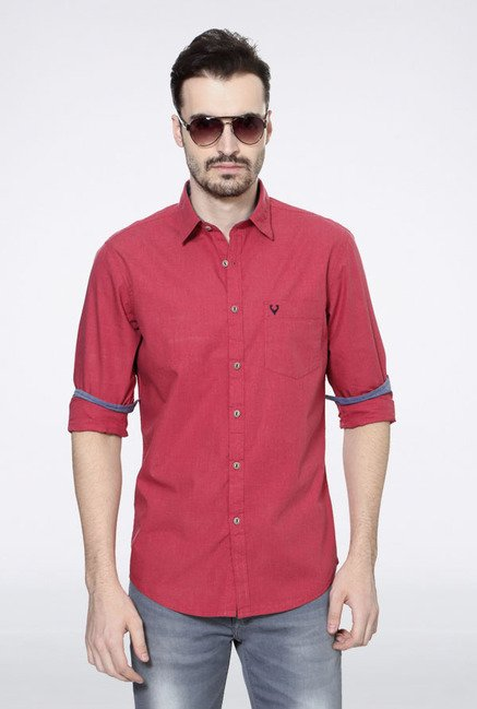 Allen Solly Red Solid Casual Shirt