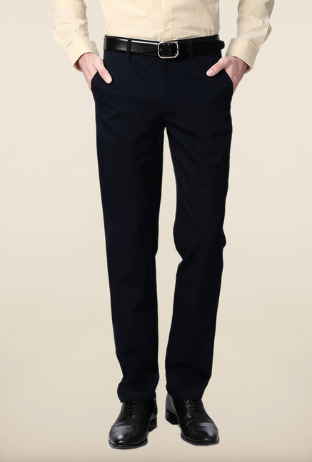 Peter England Navy Flat Front Cotton Trouser