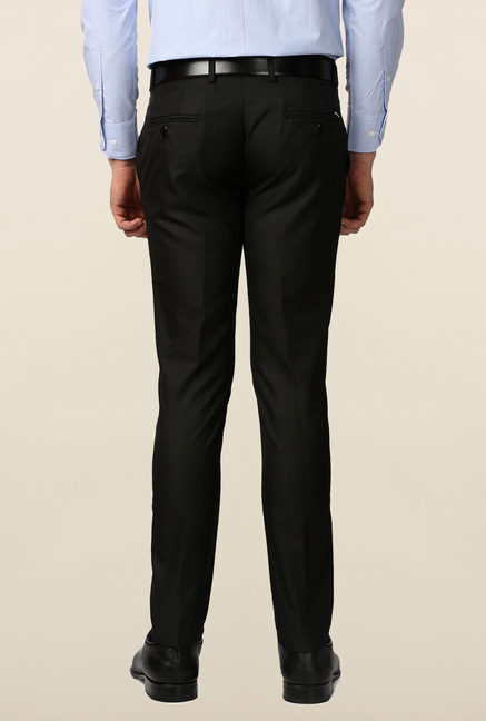 Peter England Black Solid Skinny Fit Trouser