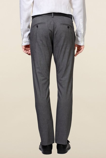 Allen Solly Grey Solid Cotton Trouser