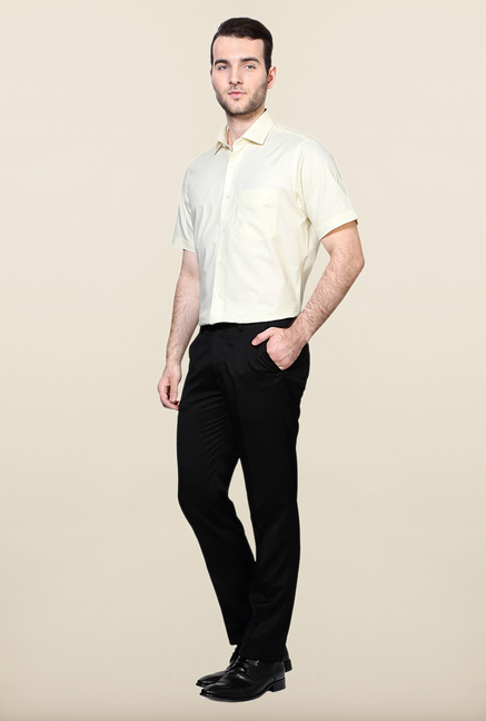 Peter England Black Solid Slim Fit Trouser