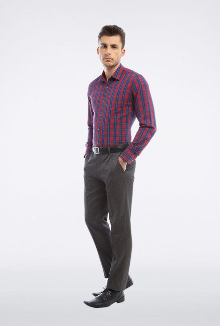 Peter England Red & Blue Checks Casual Shirt