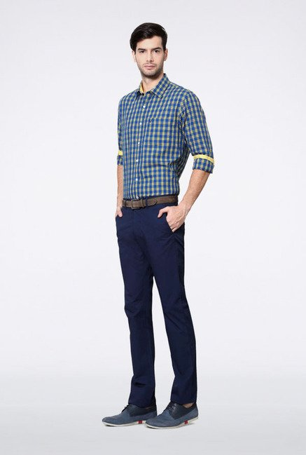 Allen Solly Blue Checks Slim fit Casual Shirt