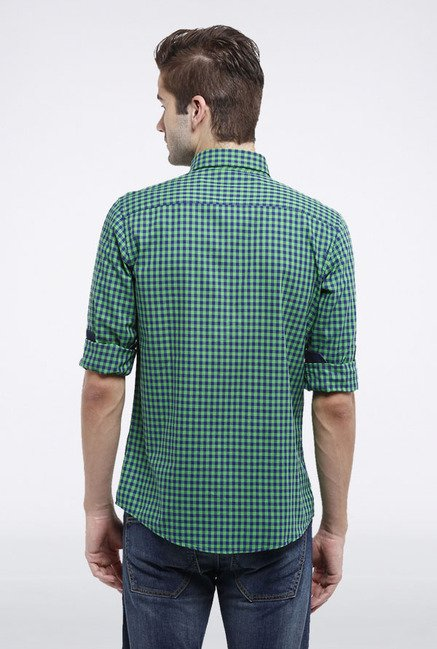 Allen Solly Green & Blue Checks Casual Shirt