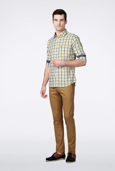 Allen Solly Yellow & Navy Checks Slim fit Casual Shirt