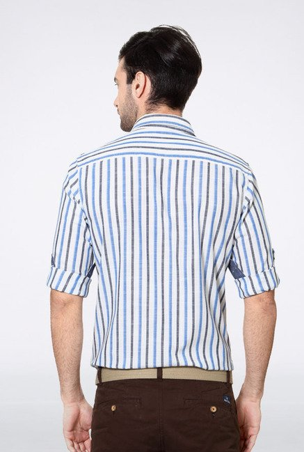 Allen Solly White Striped Slim fit Casual Shirt