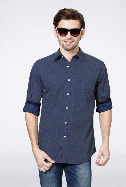 Allen Solly Navy Dot Print Casual Shirt