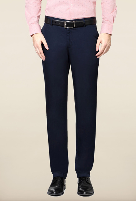 Peter England Navy Solid Cotton Trouser