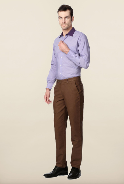 Peter England Brown Solid Cotton Trouser