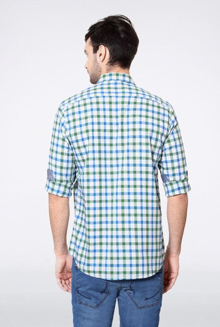 Allen Solly Blue & Green Checks Slim fit Casual Shirt