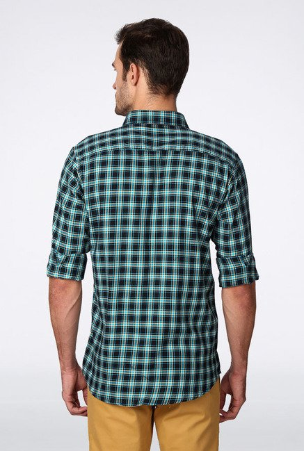 Allen Solly Blue & Black Checks Casual Shirt