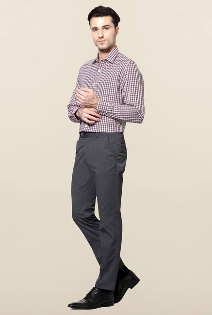 Peter England Grey Flat Front Slim Fit Trouser