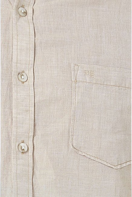 Peter England Beige Solid Slim fit Casual Shirt