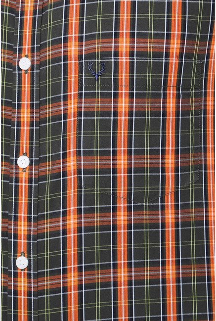 Allen Solly Green & Orange Checks Casual Shirt