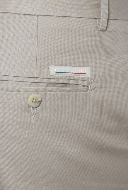 Peter England Beige Slim Fit Trouser