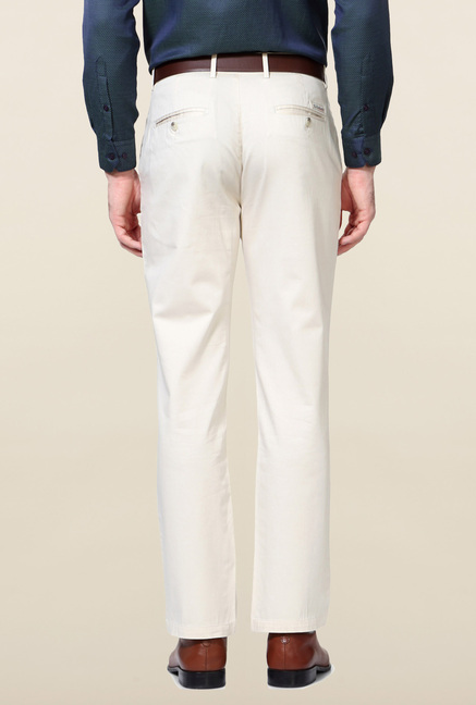 Peter England Cream Solid Trouser