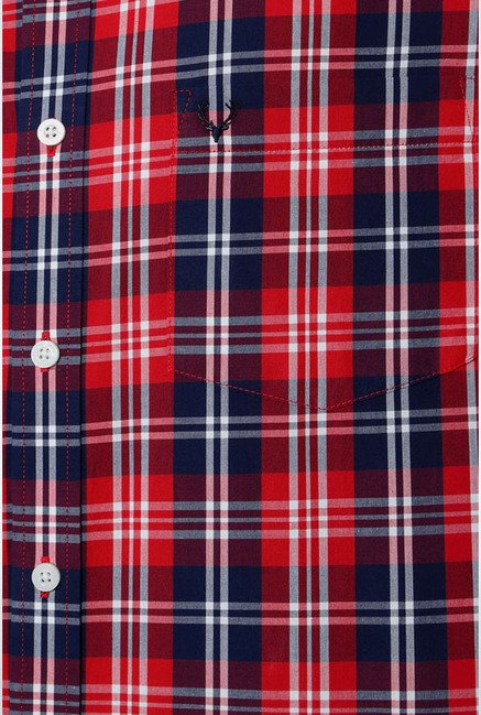 Allen Solly Red Checks Slim fit Casual Shirt