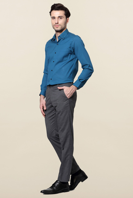 Peter England Grey Solid Flat Front Trouser