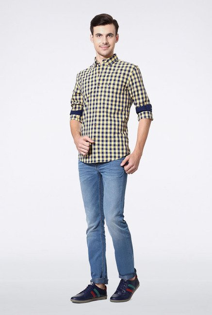 Allen Solly Yellow & Blue Checks Casual Shirt
