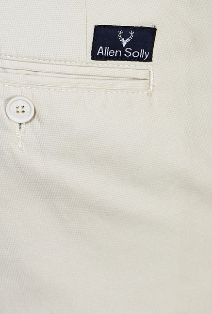 Allen Solly Cream Solid Trouser