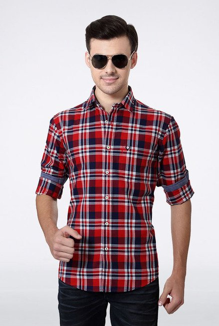 Allen Solly Red & Blue Checks Casual Shirt