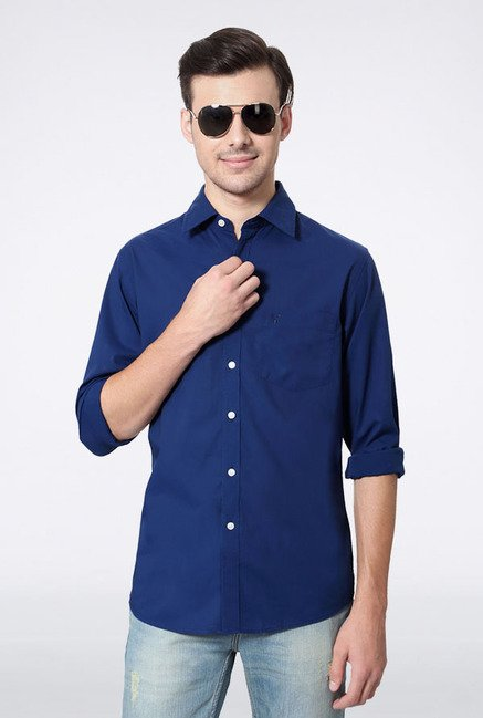 Allen Solly Dark Blue Solid Casual Shirt