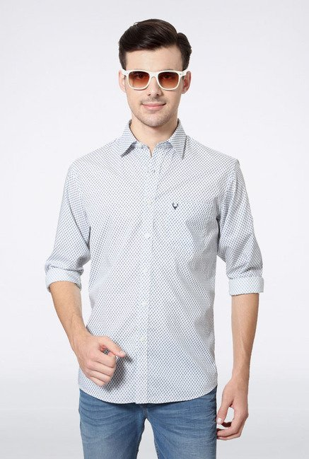 Allen Solly White Printed Slim fit Casual Shirt