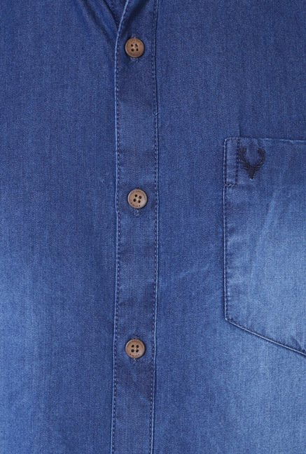 Allen Solly Denim Blue Solid Casual Shirt