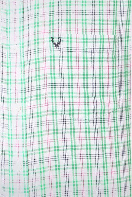 Allen Solly Green Checks Slim fit Casual Shirt
