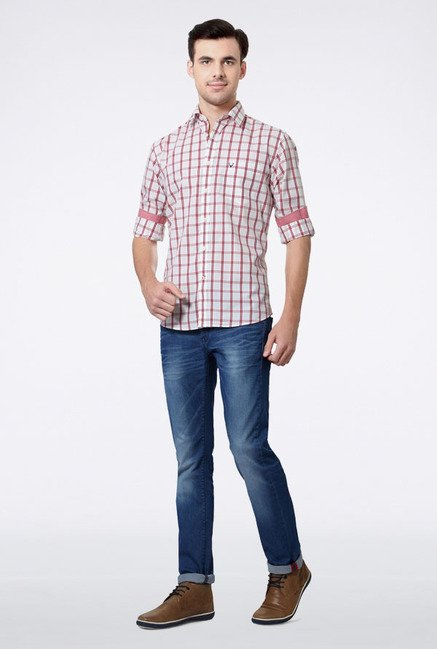Allen Solly White & Red Checks Casual Shirt