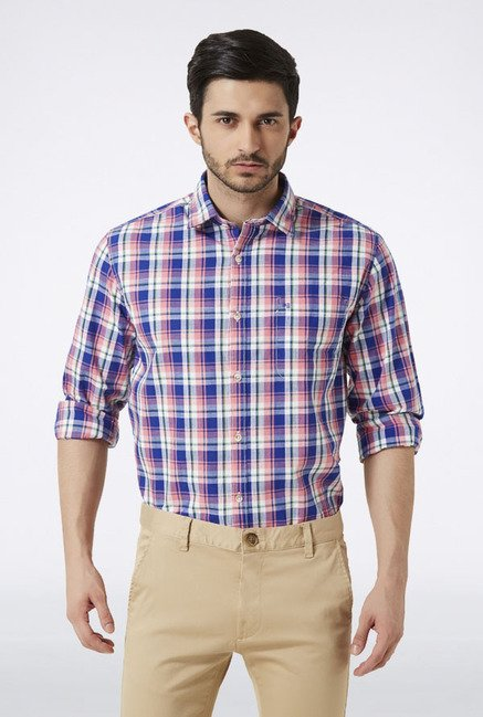Peter England Blue & Pink Checks Casual Shirt