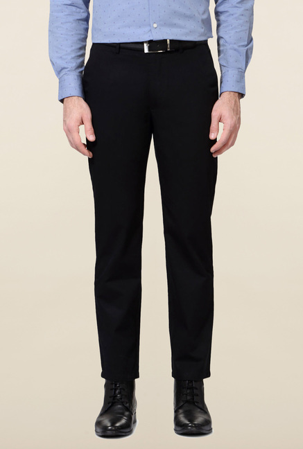 Peter England Black Cotton Trouser