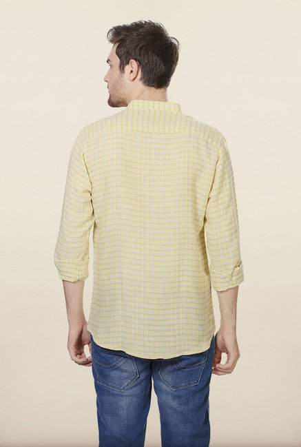 Allen Solly Yellow Checks Slim fit Casual Shirt