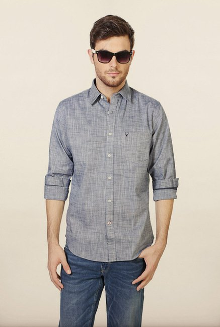 Allen Solly Grey Solid Slim fit Casual Shirt