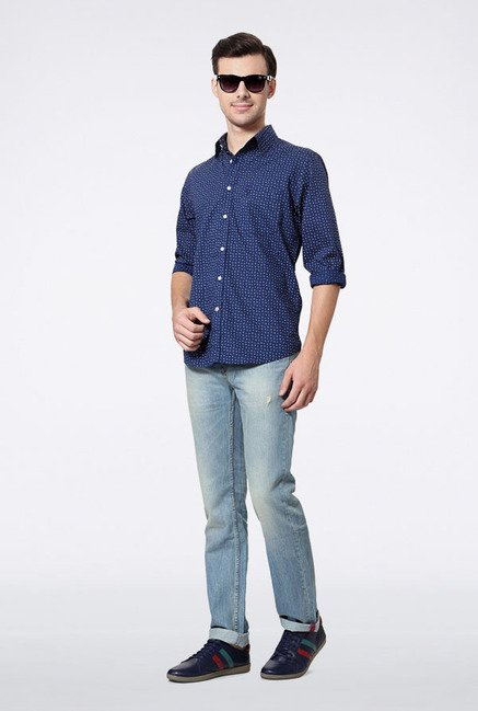 Allen Solly Blue Printed Slim fit Casual Shirt
