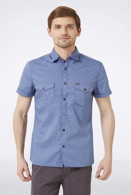 Peter England Blue Solid Slim fit Casual Shirt